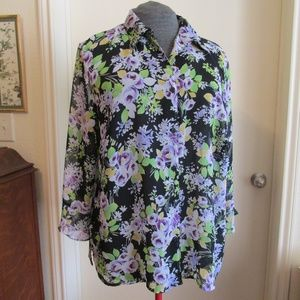 Notations sheer floral print blouse